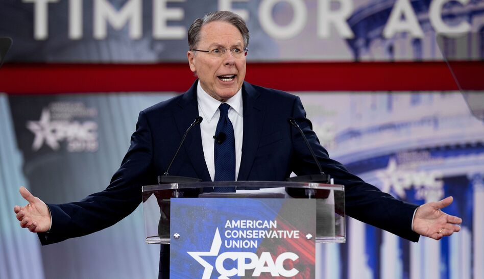 The National Rifle Association's executive vice president and CEO, Wayne LaPierre, speaks during the 2018 Conservative Political Action Conference at National Harbor in Oxen Hill, Md., on Thursday. (Jim Watson/AFP/Getty Images)