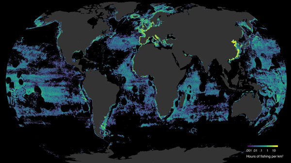 A global map showing where all fishing vessels were active during 2016. Dark circles show the vessels avoiding exclusive economic zones around islands, where they aren