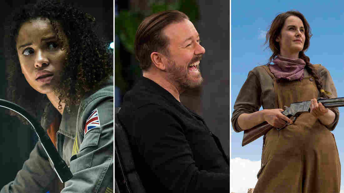 Gugu Mbatha-Raw, Ricky Gervais, and Michelle Dockery.