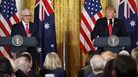 President Trump and Australian Prime Minister Malcolm Turnbull speak Friday during a news conference at the White House.