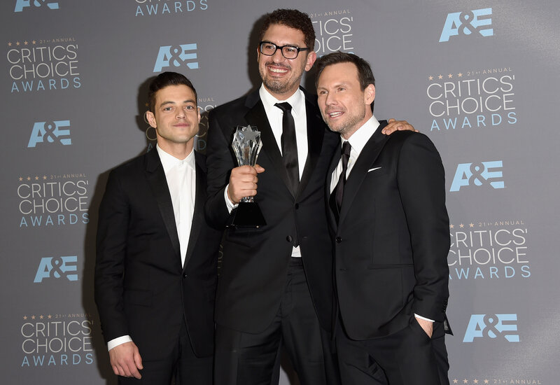 Mr. Robot actor Rami Malek (from left), writer/producer Sam Esmail and actor Christian Slater