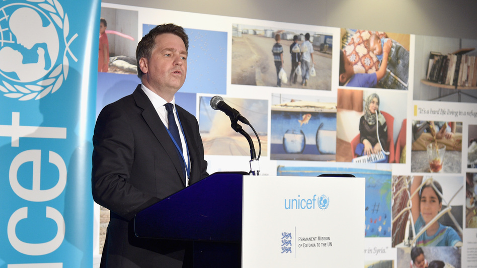 UNICEF Deputy Executive Director Justin Forsyth speaks in 2016 in New York City. He resigned Thursday over allegations dating from 2011 and 2015, during a previous job at Save the Children.