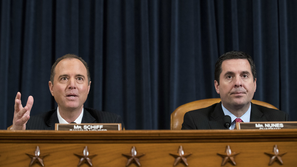 House intelligence committee ranking member Adam Schiff (left) and chairman Devin Nunes participate in a hearing last year on Russian interference in the 2016 presidential election.