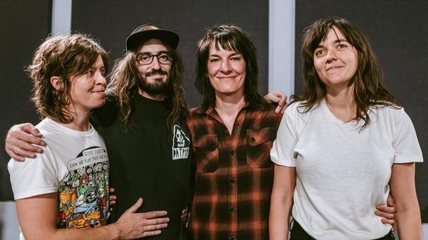 Jen Cloher and her band inside the World Cafe Performance Studio. From left to right: Jen Sholakis, Bones Sloane, Jen Cloher, and Courtney Barnett.