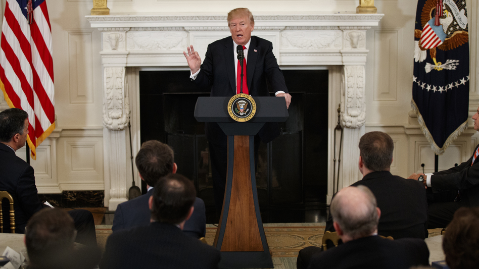 President Trump speaks during a meeting with the members of the National Governors Association at the White House on Monday. (Evan Vucci/AP)
