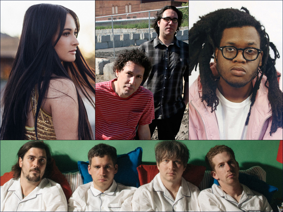 Clockwise from upper left: Kacey Musgraves, Yo La Tengo, Yuno, Parquet Courts