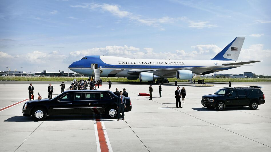 The Air Force One plane transporting President Trump and first lady Melania Trump arrives at the Melsbroek military airport in Steenokkerzeel, Belgium, on May 24, 2017, the eve of the NATO summit. (Eric Lalmand/AFP/Getty Images)