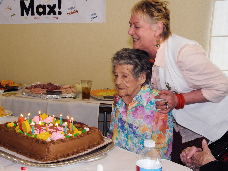 """Maxine Stanich celebrated her 90th birthday with friends and family in 2010, more than two years after her implanted defibrillator was deactivated by Dr. Rita Redberg to comply with Stanich's """"do not resuscitate"""" directive. (Courtesy of Susan Giaquinto/Kaiser Health News)"""