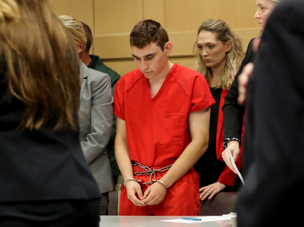 Nikolas Cruz appears in court for a status hearing before Broward Circuit Judge Elizabeth Scherer earlier this month. He is facing 17 charges of premeditated murder in the mass shooting at Marjory Stoneman Douglas High School in Parkland, Fla.