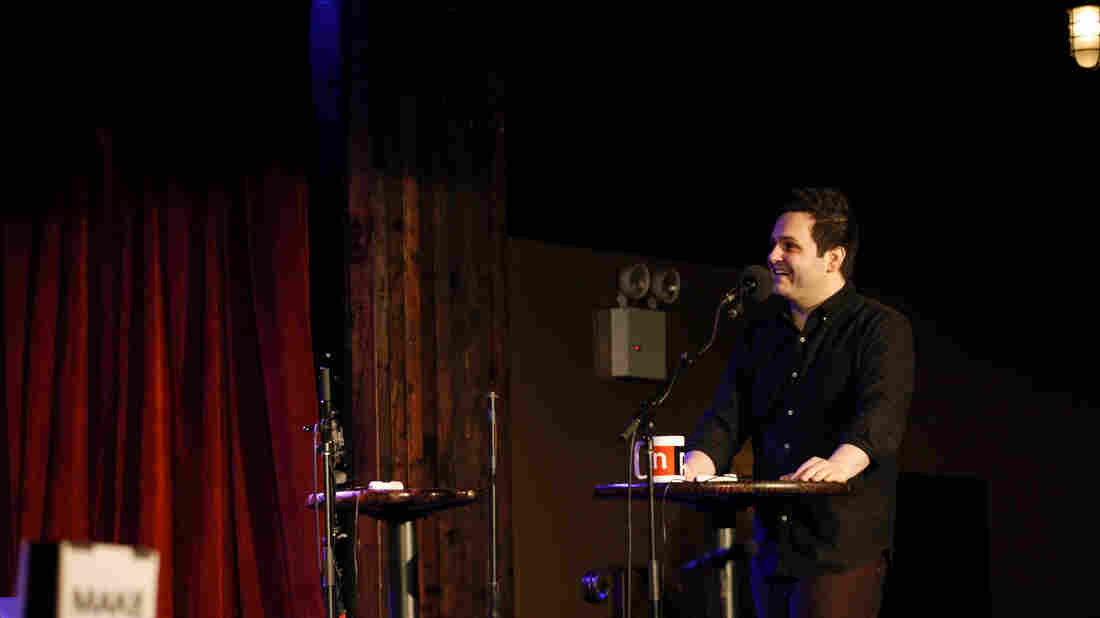 Derek DelGaudio explains the blend of magic and storytelling in his off-Broadway show In & Of Itself on Ask Me Another at the Bell House in Brooklyn, New York.