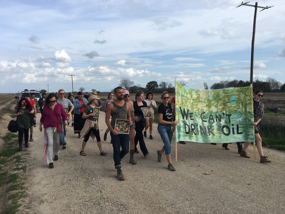"""""""Keep it in the ground"""" activists protesting the Bayou Bridge Pipeline on February 17, 2018 near Belle Rose, Louisiana. (Travis Lux/WWNO)"""