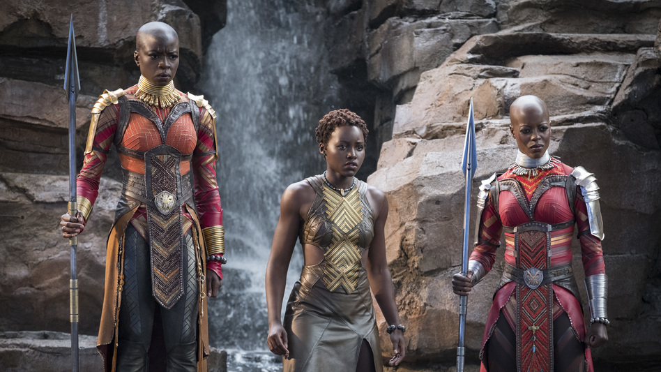 Danai Gurira, Lupita Nyong'o and Florence Kasumba are pictured in a scene from the film, <em>Black Panther</em>. Gurira says the representation of women in <em>Black Panther</em> is important for young girls to see.