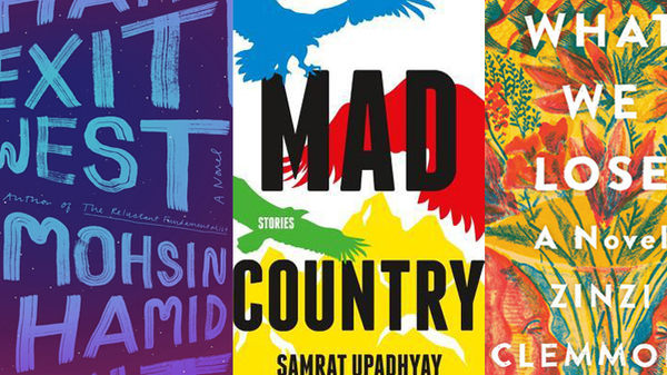 Aspen Books finalists: Sing, Unburied, Sing by Jesmyn Ward; What It Means When a Man Falls from the Sky by Lesley Nneka Arimah; Exit West by Mohsin Hamid; Mad Country by Samrat Upadhyay; What We Lose by Zinzi Clemmons