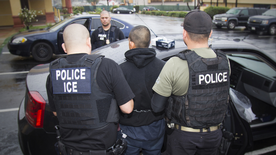 Foreign nationals are arrested during a targeted enforcement operation conducted by U.S. Immigration and Customs Enforcement aimed at immigration fugitives, re-entrants and at-large criminal aliens in Los Angeles on Feb. 7, 2017. (Charles Reed/AP)