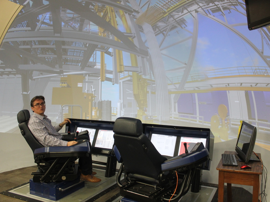 Professor Eric van Oort uses this 'virtual oil rig' to do research at the University of Texas at Austin. He helps advise companies on how to improve operations. (Mose Buchele/KUT)