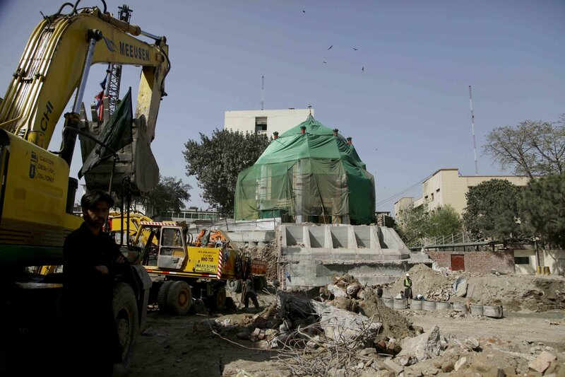 Heavy machinery works near the shrine of Mauj Darya,