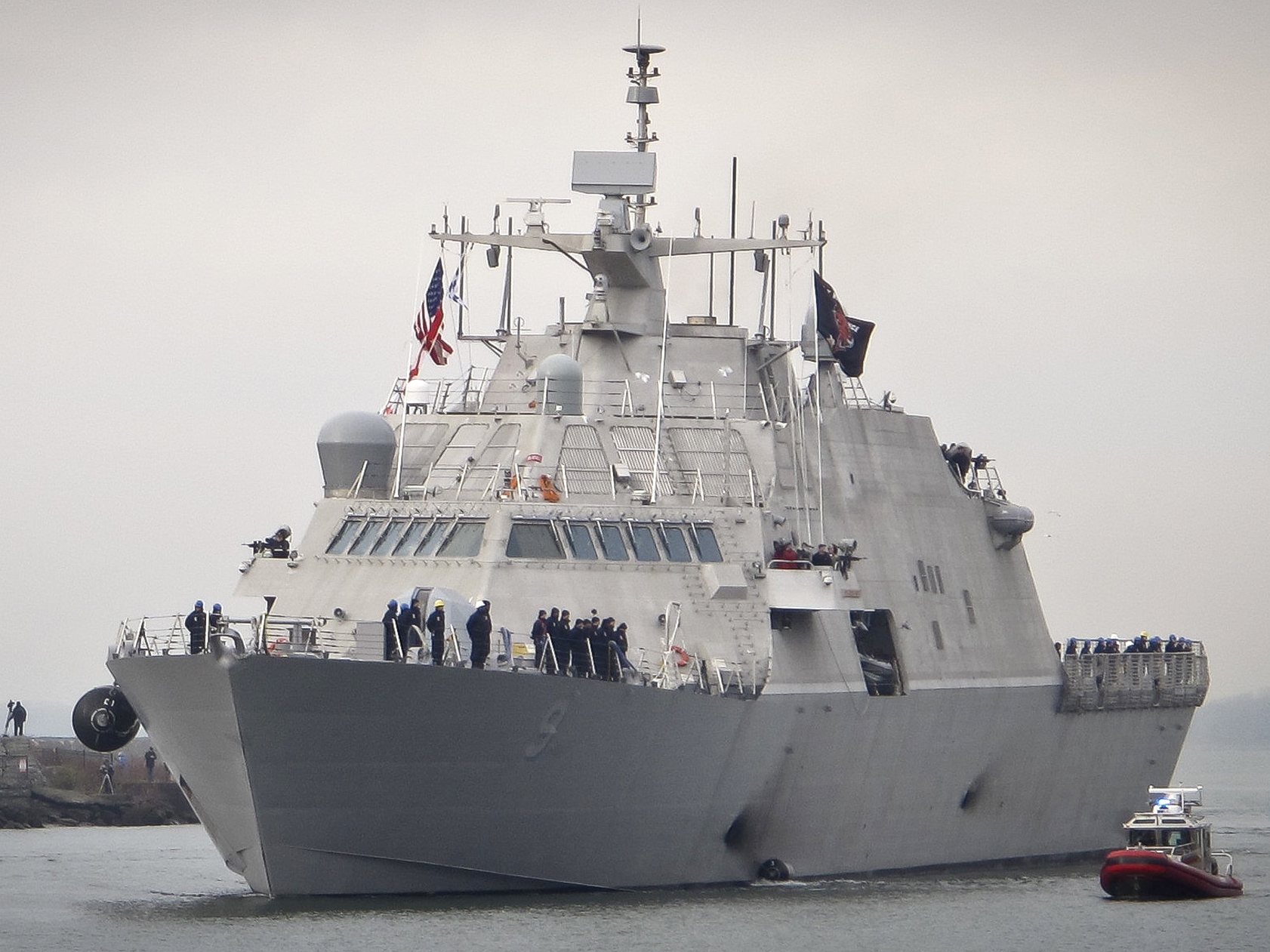 The Navy's new USS Little Rock arrives at the harbor in Buffalo N.Y. on Dec. 4. In imposing tariffs on steel and aluminum imports President Trump said the U.S. military should be as self-sufficient as possible