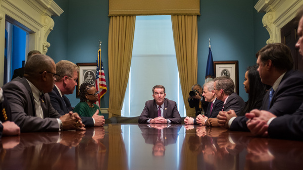 Virginia Governor Ralph Northam meets with state legislators March 10, to discuss next steps in the budget. He wants Medicaid expansion to be a priority.