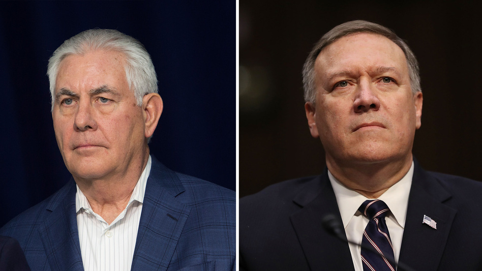 CIA Director Mike Pompeo (right) is President Trump's choice to replace Rex Tillerson, who has been fired as secretary of state.