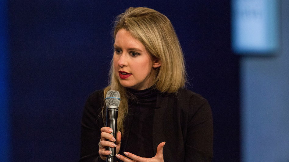 Elizabeth Holmes, founder and CEO of Theranos, speaks at the Clinton Global Initiative's closing session in 2015 in New York City. The SEC says Holmes and Theranos made exaggerated and false claims. (Andrew Burton/Getty Images)