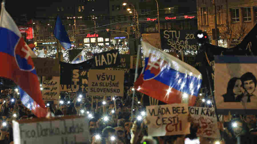 Slovaks Take To The Streets After Prime Minister's Resignation