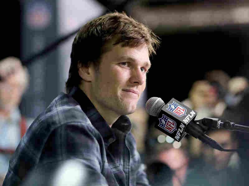 Tom Brady of the New England Patriots speaks to the press before Super Bowl LII in 2018.