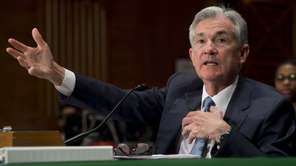 Federal Reserve Board Chairman Jerome Powell testifies during a Senate banking committee hearing in Washington, D.C., on March 1. This week, Powell presided over a Fed policy meeting for the first time since becoming chairman.
