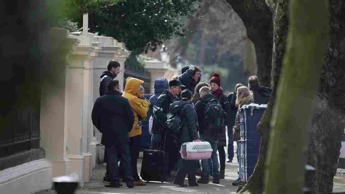 Expelled Russian diplomats leave London embassy