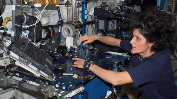 Sunita Williams conducts routine maintenance aboard the International Space Station. The astronaut now helps Boeing and SpaceX develop private spacecraft.