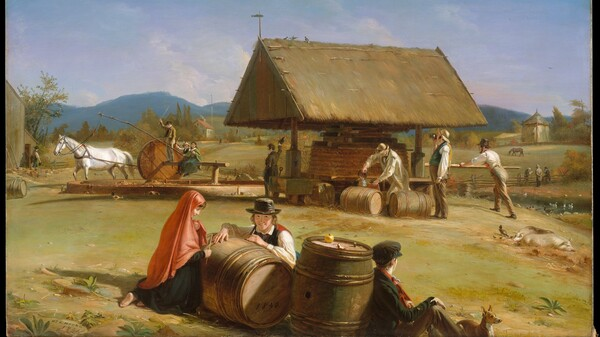 The oil painting Cider Making by William Sidney Mount is on display at The Met Fifth Avenue in Gallery 758.