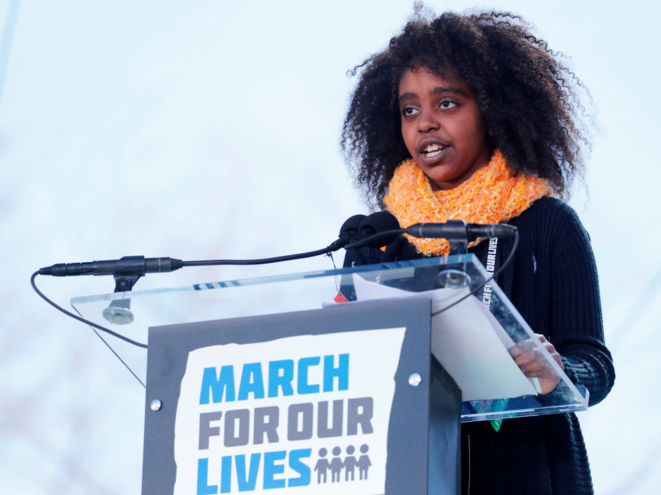 Eleven-year-old Naomi Wadler of Alexandria, Va., was among the young people who rallied the crowd in Washington, D.C. (Jonathan Ernst/Reuters)
