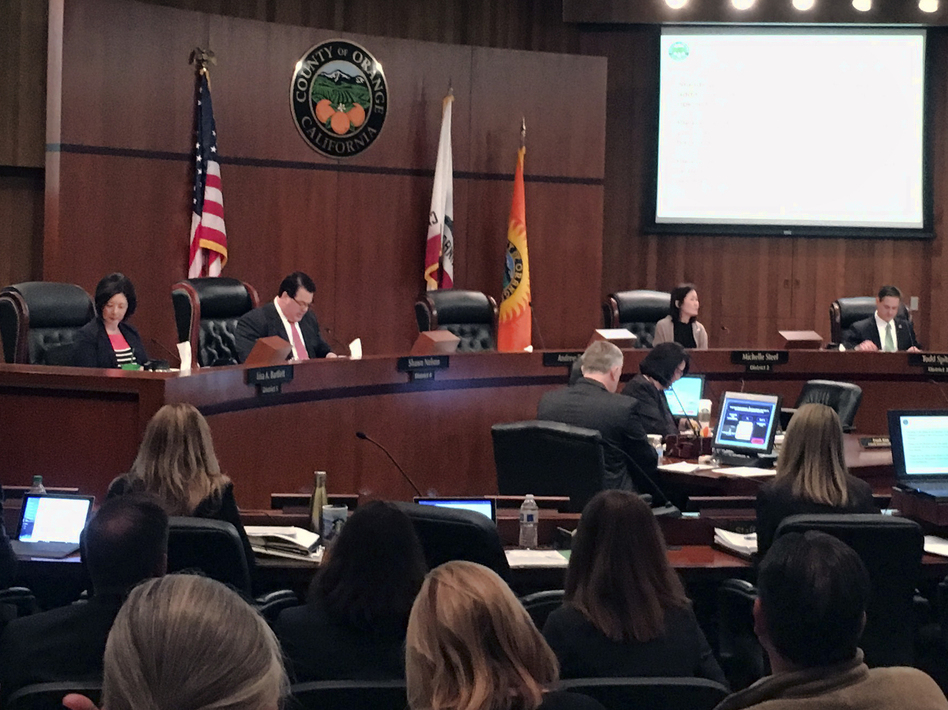 The Orange County Board of Supervisors during a meeting in Santa Ana, Calif., on Tuesday. The board voted to oppose California's sanctuary law for undocumented immigrants. (Amy Taxin/AP)
