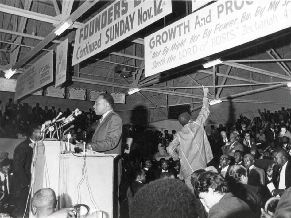 Martin Luther King, Jr. speaking to a mass meeting at the Mason Temple in support of striking sanitation workers. (Memphis Press-Scimitar/University of Memphis Libraries Special Collections)