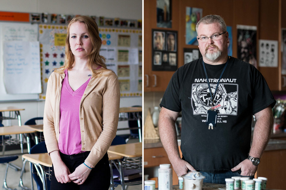The TEACH grant helps teachers-to-be pay for college or a master's. But many teachers, like Maggie Webb (left) and David West, say when they began teaching, they were forced to pay it back. (Kayana Szymczak and Sean Rayford for NPR)