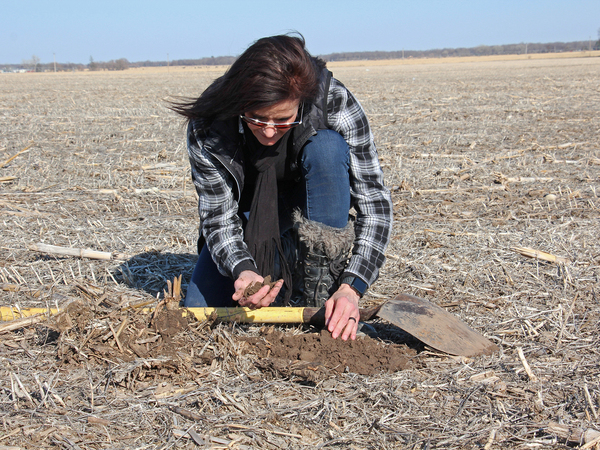 Deb Gangwish inspects soil on her farm near Shelton, Neb.