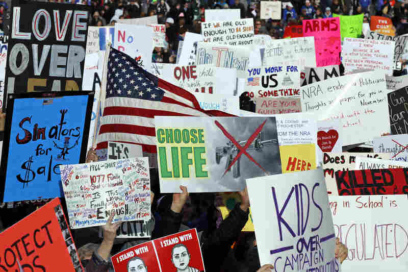 """Crowds of people hold signs on Pennsylvania Avenue at the """"March For Our Lives"""" rally in support of gun control, March 24, in Washington, D.C."""