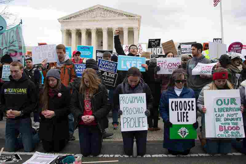"""Anti-abortion rights activists gather in front of the Supreme Court at the 44th annual """"March For Life"""" on Jan. 27, 2017 in Washington, D.C."""