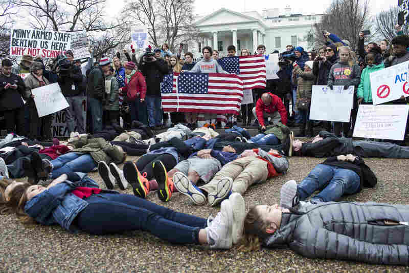 """Demonstrators lie on the ground at a """"lie-in"""" demonstration supporting gun control reform near the White House on Feb. 19, in Washington, D.C."""