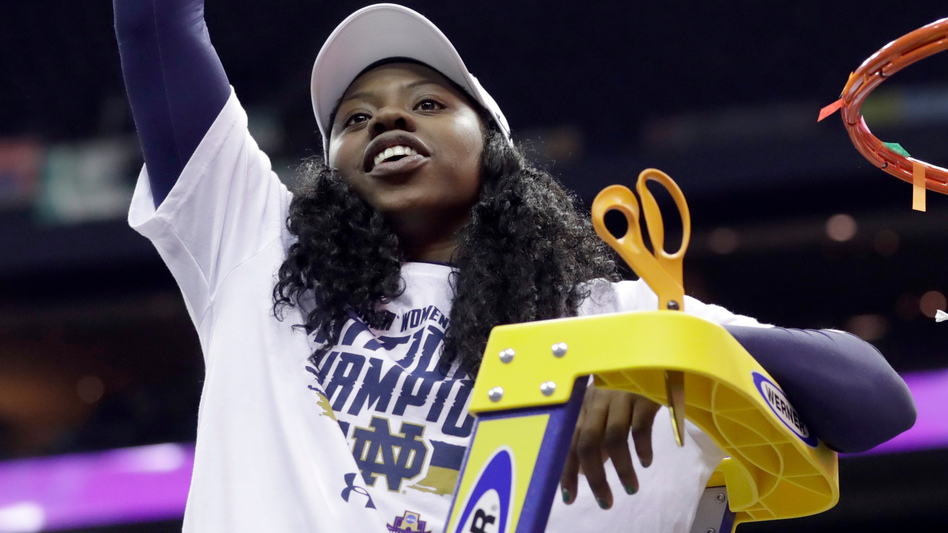 Notre Dame's Arike Ogunbowale celebrates by cutting down the net after a 61-58 victory over Mississippi State in the final of the women's NCAA basketball tournament Sunday in Columbus, Ohio.