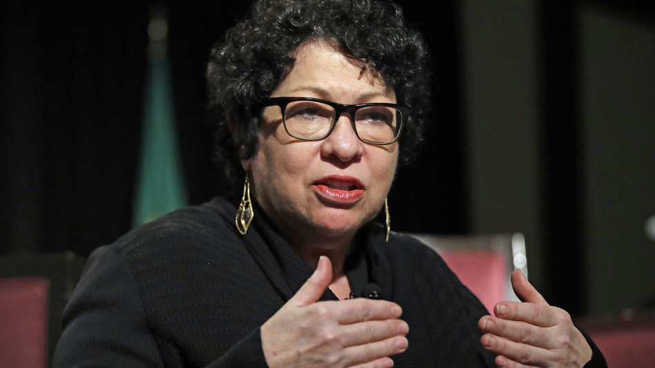 Supreme Court Justice Sonia Sotomayor speaks at a civics event in January in Seattle. Sotomayor wrote a scathing dissent about police shootings Monday.