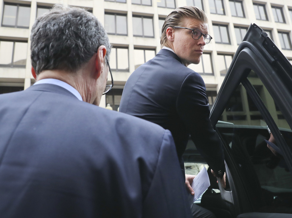 Alex van der Zwaan leaves federal court in Washington after being sentenced to 30 days in prison and a $20,000 fine for lying to investigators in the Russia imbroglio. (Pablo Martinez Monsivais/AP)