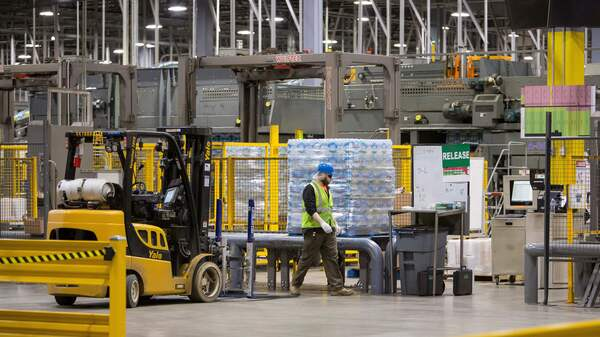 Bottled water is packaged for shipment at the Nestlé Water bottling plant in Stanwood, Mich.