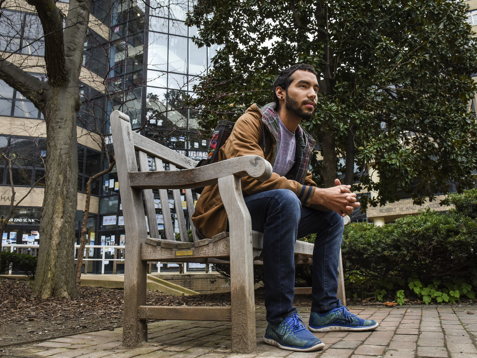 Caleb Torres, a senior at George Washington University, says he ran out of grocery money his freshmen year, so he began skipping meals. (The Washington Post/The Washington Post/Getty Images)