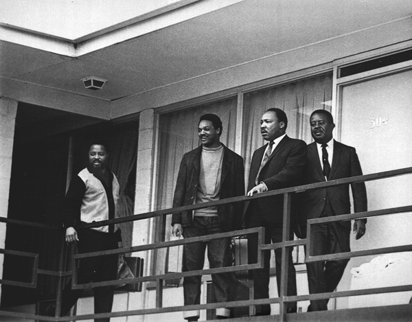 Martin Luther King Jr. stands with fellow civil rights leaders on the balcony of the Lorraine Motel in Memphis, Tenn., on April 3, 1968 — one day before he was assassinated while standing in approximately the same place. From left are Hosea Williams, Jesse Jackson, King and Ralph Abernathy.
