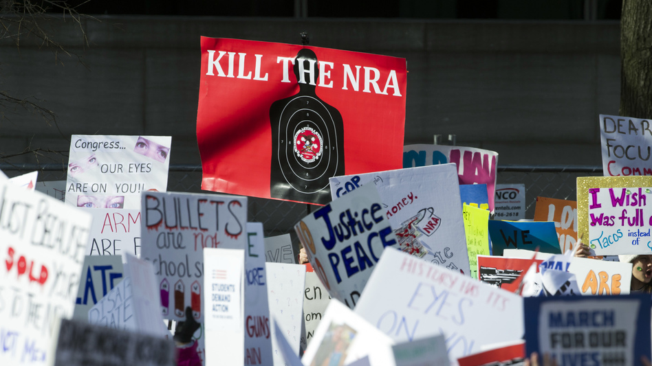Gun control supporters held up many signs but had one message at last month's March for Our Lives rally in Washington, D.C. (Cliff Owen/AP)