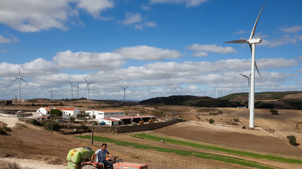 A wind farm in Sobral de Monte Agraco, Portugal, in August 2015. The windy hills north of Lisbon, once filled with grain windmills, are being increasingly populated with wind turbines.
