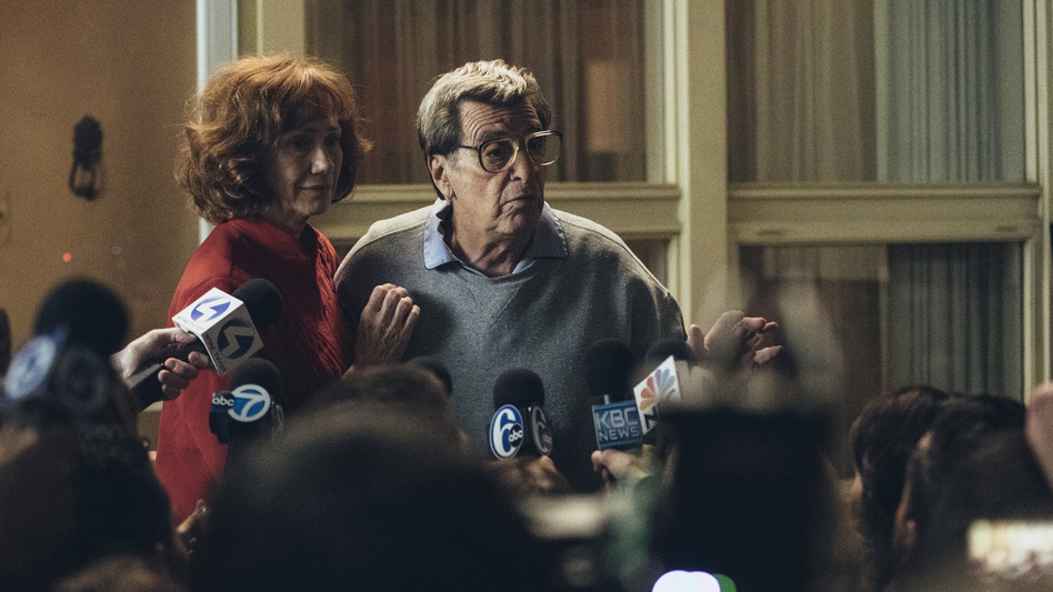 Al Pacino plays Penn State football legend Joe Paterno and Kathy Baker plays his wife, Sue, in the HBO movie <em>Paterno</em>. (HBO)