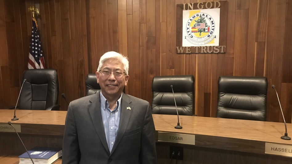 Los Alamitos Mayor Pro Tem Warren Kusumoto argues his small city is caught in the middle of a legal fight between the Trump administration and the state of California. (Kirk Siegler/NPR)