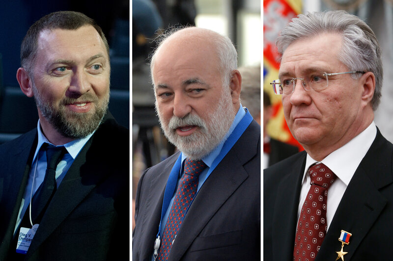 (Left) Oleg Deripaska, chairman of the supervisory board of the Basic Element company, in 2013. (Center) Viktor Vekselberg, founder and chairman of the board of directors of the Renova Group, in 2013. (Right) Vladimir Bogdanov, director general of Surgutneftegas oil company in 2016. (Johannes Eisele/AFP; Alexey Filippov/Host Photo Agency; Sergei Karpukhin/AFP/Getty Images)
