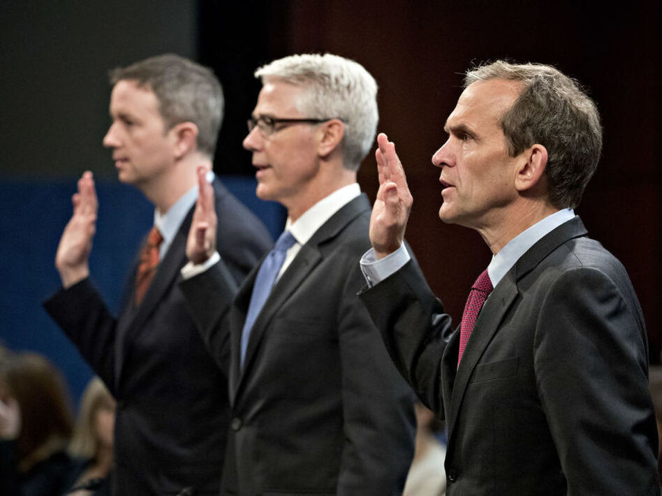 From right: Kent Walker, vice president and general counsel with Google Inc.; Colin Stretch, general counsel with Facebook Inc.; and Sean Edgett, acting general counsel with Twitter Inc., swear in to a House Intelligence Committee hearing in Washington, D.C., on Nov. 1, 2017. (Andrew Harrer/Bloomberg via Getty Images)